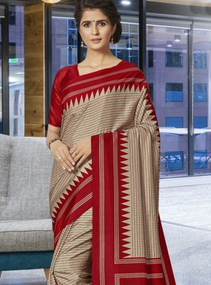Art Silk Beige Print Traditional Saree
