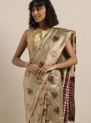 Art Silk Beige Traditional Saree