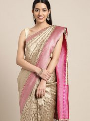 Art Silk Beige Weaving Classic Saree