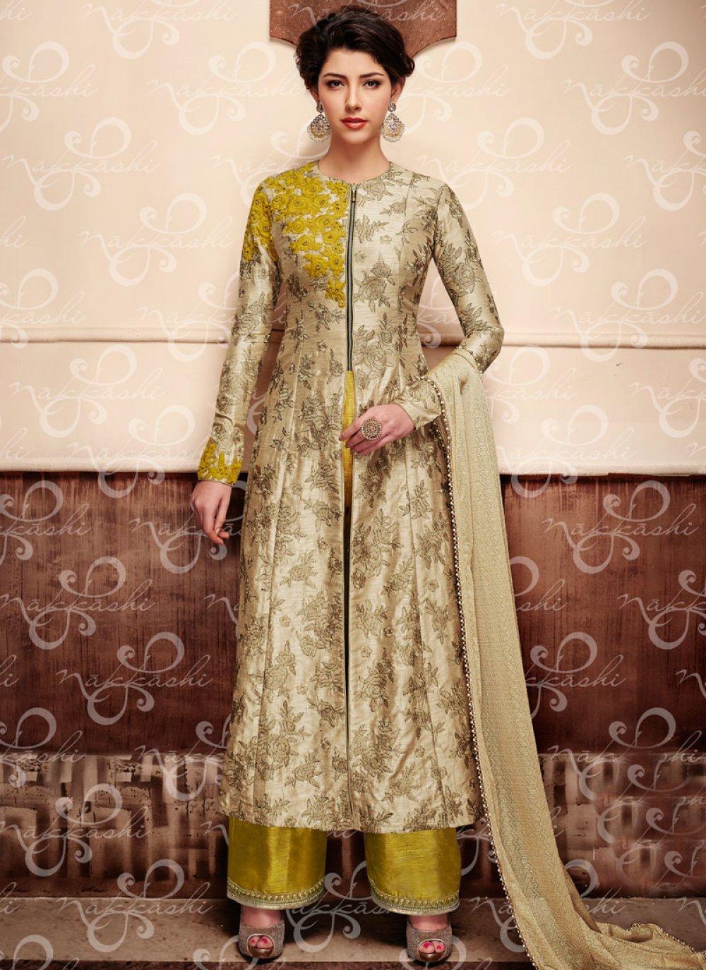 Art Silk Beige Zari Work Designer Suit