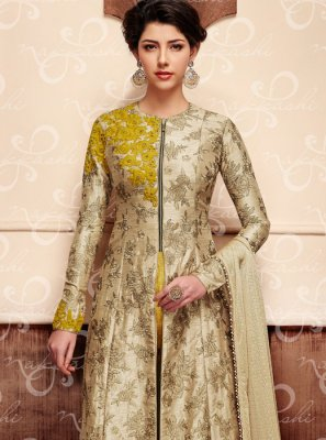 Art Silk Beige Zari Work Designer Suit