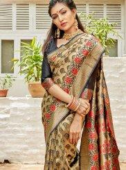Art Silk Black and Cream Weaving Designer Saree