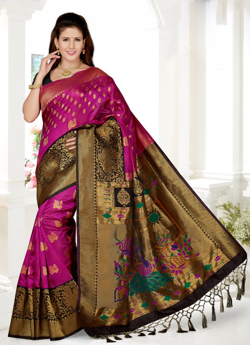 Art Silk Black and Rani Embroidered Traditional Saree