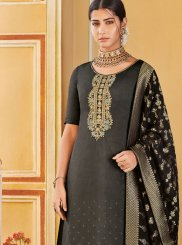 Art Silk Black Designer Pakistani Suit