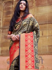 Art Silk Black Designer Traditional Saree