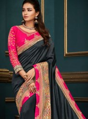 Art Silk Black Embroidered Designer Traditional Saree