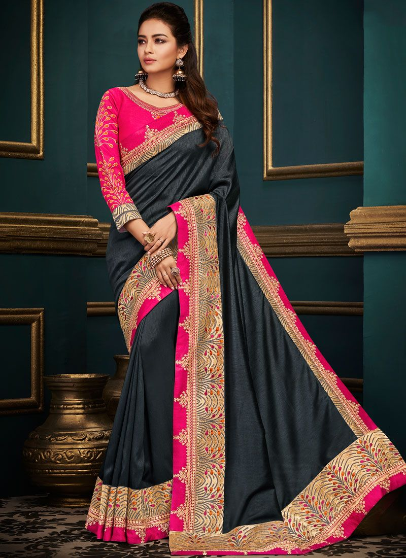 Art Silk Black Embroidered Designer Traditional Saree