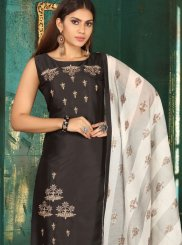 Art Silk Black Embroidered Readymade Suit