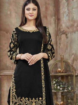 Art Silk Black Resham Designer Patiala Salwar Kameez
