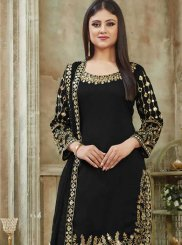 Art Silk Black Resham Designer Patiala Suit