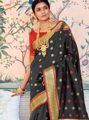 Art Silk Black Weaving Traditional Designer Saree