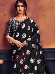 Art Silk Black Weaving Traditional Saree