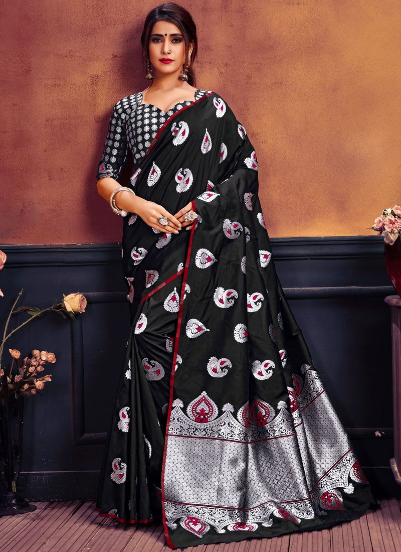 Art Silk Black Weaving Traditional Saree