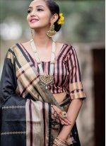 Art Silk Black Woven Traditional Saree