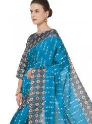 Art Silk Blue Abstract Print Printed Saree