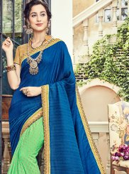 Art Silk Blue and Green Trendy Saree