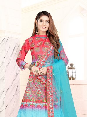 Art Silk Blue and Pink Lehenga Choli