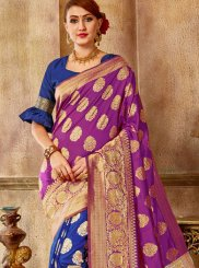 Art Silk Blue and Purple Traditional Saree
