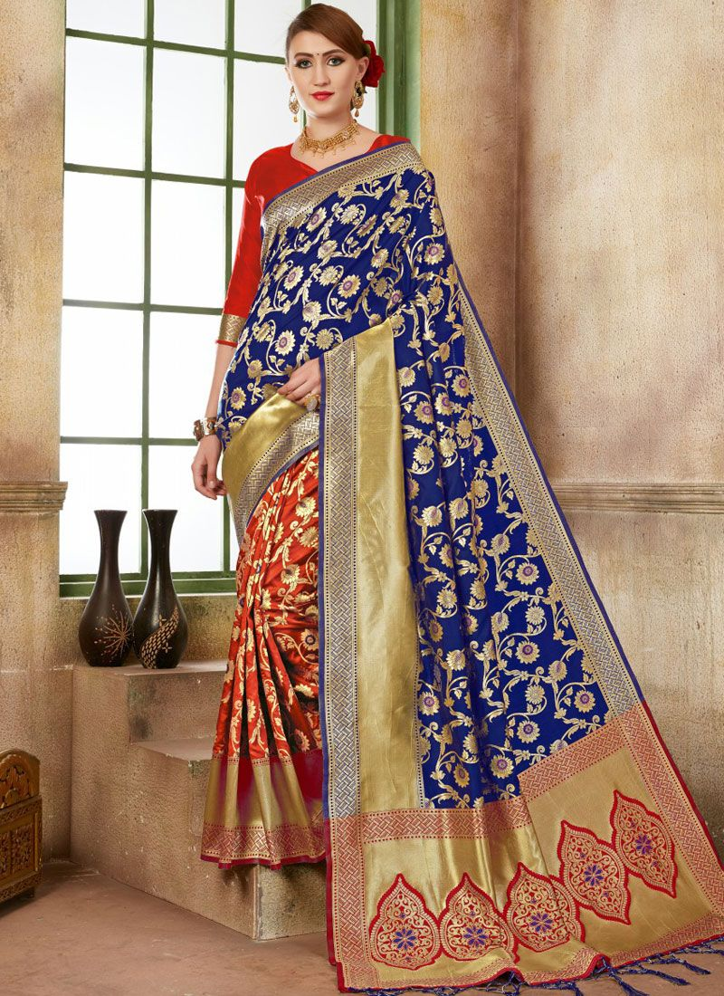Art Silk Blue and Red Designer Traditional Saree