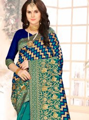 Art Silk Blue and Sea Green Half N Half Designer Saree