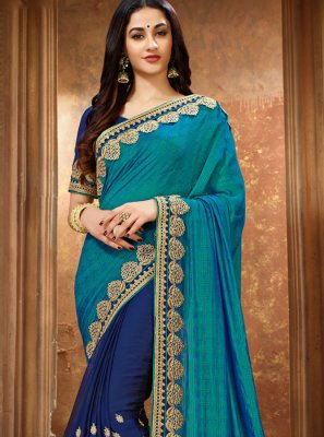 Art Silk Blue Classic Designer Saree