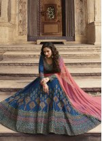 Art Silk Blue Designer Lehenga Choli