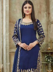 Art Silk Blue Designer Patiala Suit