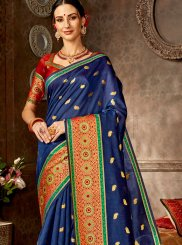Art Silk Blue Designer Saree