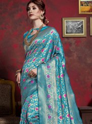 Art Silk Blue Designer Saree