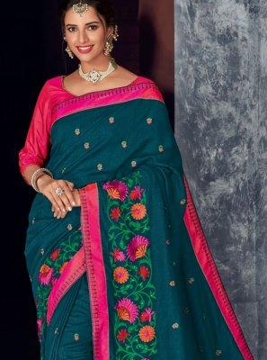 Art Silk Blue Embroidered Designer Saree