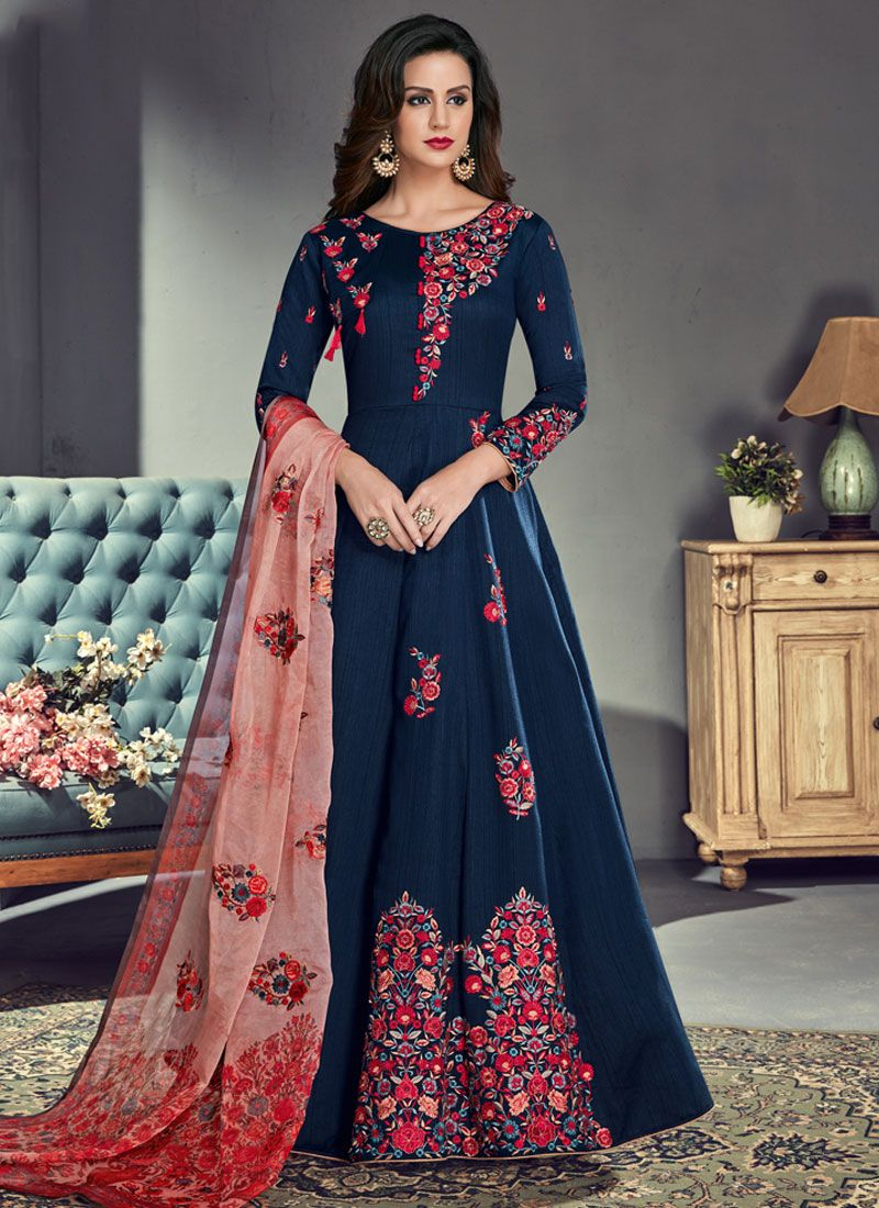 Art Silk Blue Embroidered Floor Length Anarkali Suit