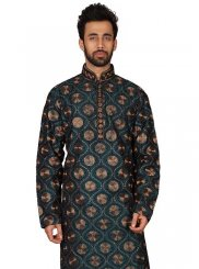 Art Silk Blue Embroidered Kurta Pyjama