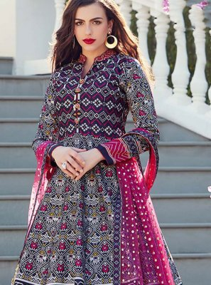 Art Silk Multi Fancy Readymade Suit
