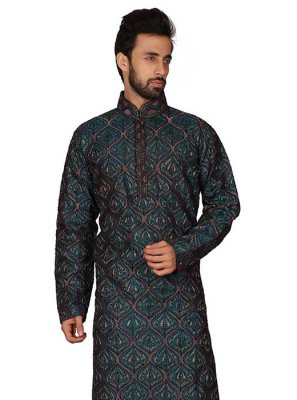 Art Silk Blue Kurta Pyjama