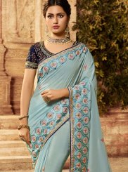Art Silk Blue Patch Border Traditional Designer Saree