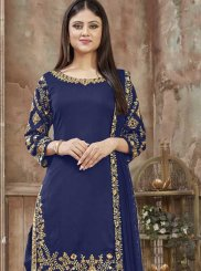 Art Silk Blue Resham Designer Patiala Salwar Kameez