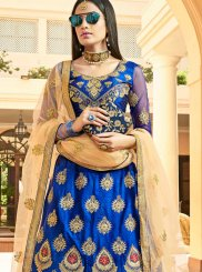 Art Silk Blue Resham Lehenga Choli