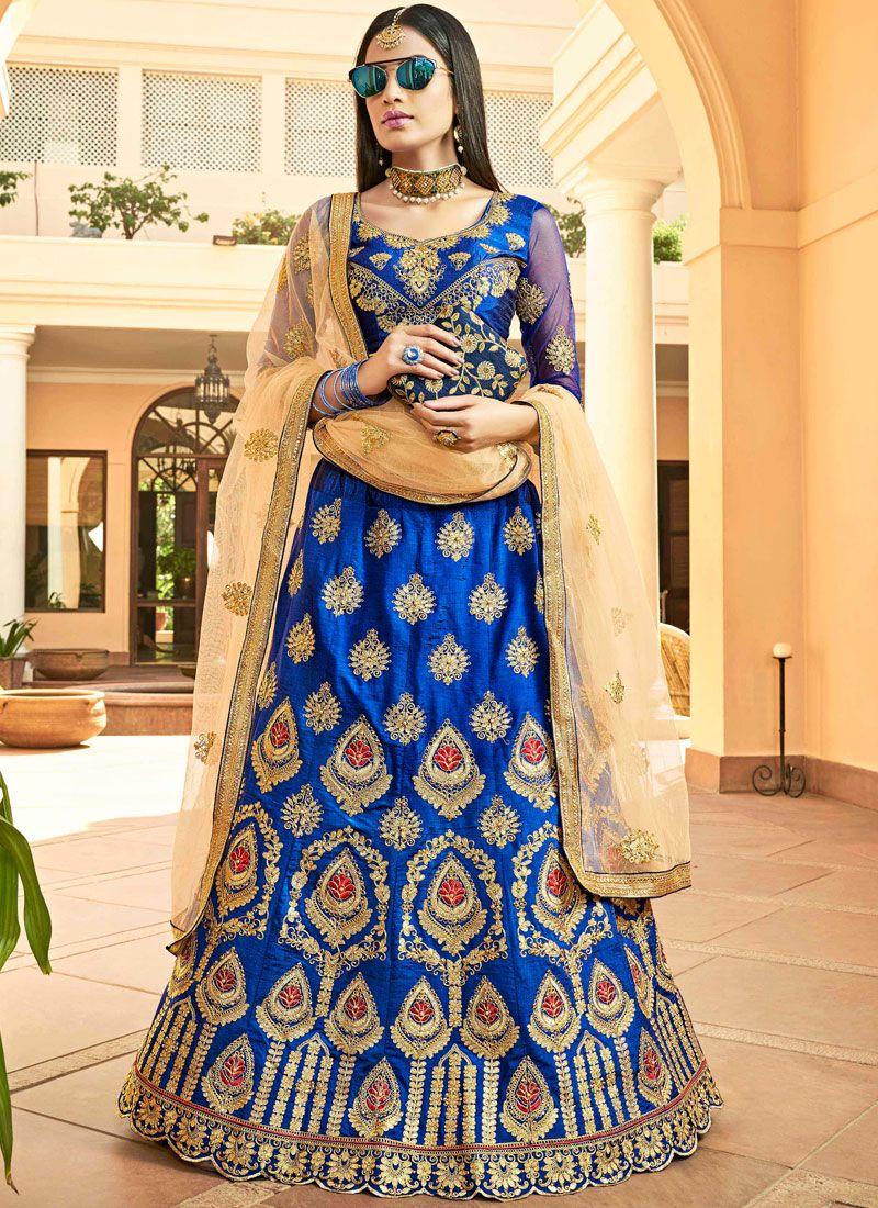 Art Silk Blue Resham Lehenga Choli