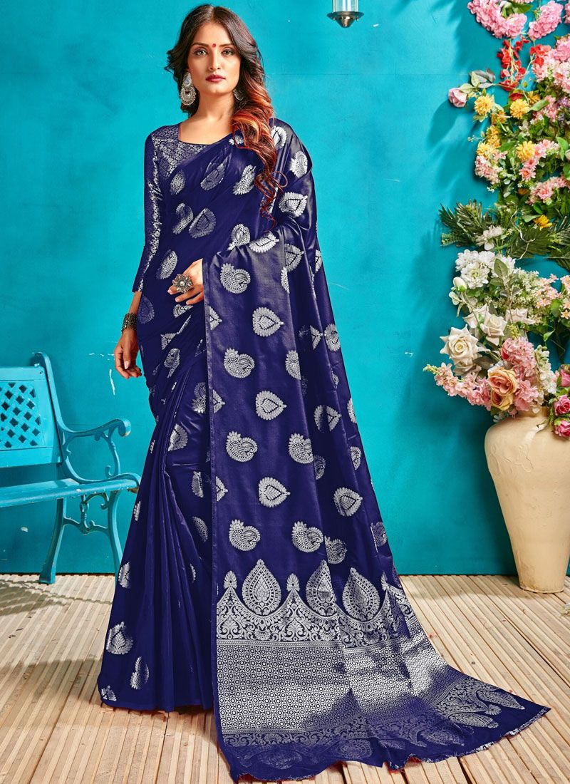 Art Silk Blue Traditional Designer Saree