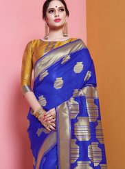 Art Silk Blue Traditional Saree