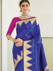 Art Silk Blue Weaving Traditional Designer Saree
