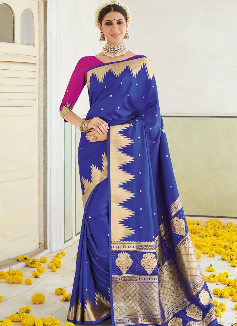 Art Silk Blue Weaving Traditional Designer Saree