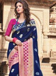 Art Silk Blue Weaving Traditional Saree