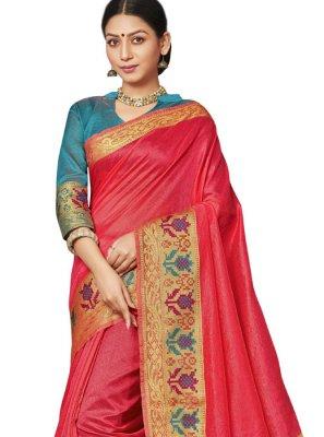 Art Silk Border Pink Traditional Saree