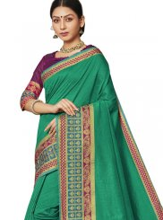Art Silk Border Traditional Saree in Green