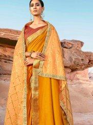 Art Silk Border Yellow Designer Saree