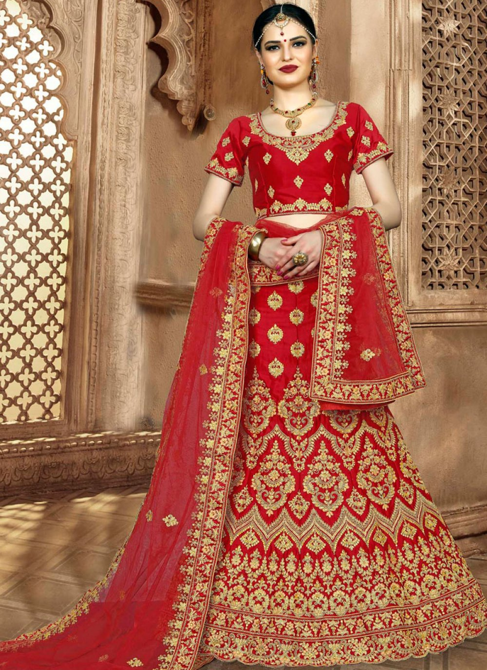 Art Silk Bridal Lehenga Choli