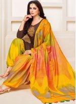 Art Silk Brown Designer Patiala Suit