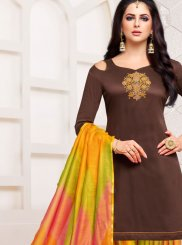 Art Silk Brown Designer Patiala Suit