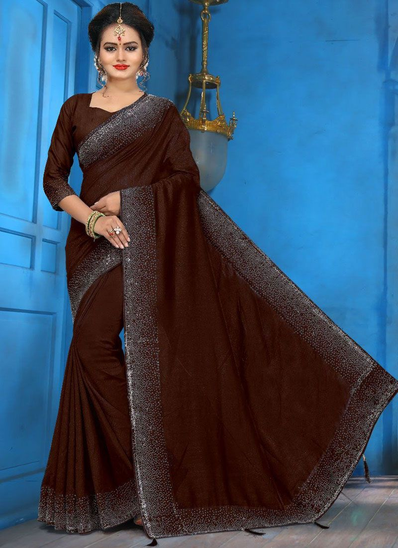 Art Silk Brown Diamond Traditional Designer Saree